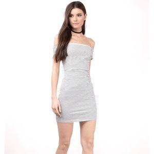 Tobi Striped Off Shoulder Dress